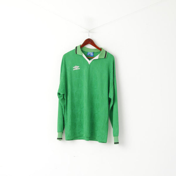 Umbro Men XL Polo Shirt Green Vintage Shiny 1924 Printed Logo Long Sleeve Sport Top