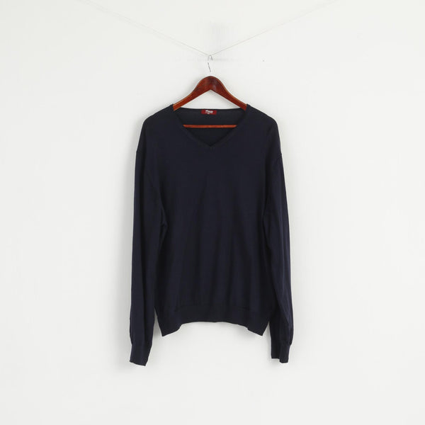 TM Lewin Men XXL Jumper Navy 100% Merino Wool V Neck Soft Plain Sweater