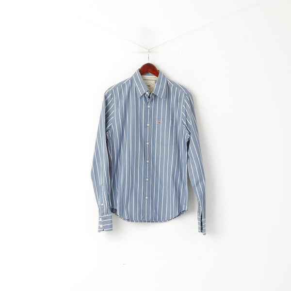 Hollister California Men S Casual Shirt Blue Striped Cotton Long Sleeve Top