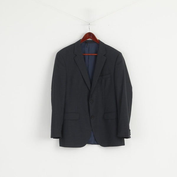 Hugo Boss Men 50 40 Blazer Navy Check REDA Wool Italy Single Breasted Jacket
