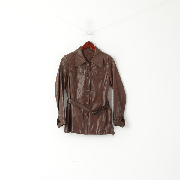 Ericson of Sweden Women 38 S Jacket Brown Leather Shiny Vintage Belted Single Breasted Top