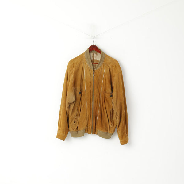 Montes Men 52 L Bomber Jacket Camel Leather Suede Vintage Full Zipper Classic Top