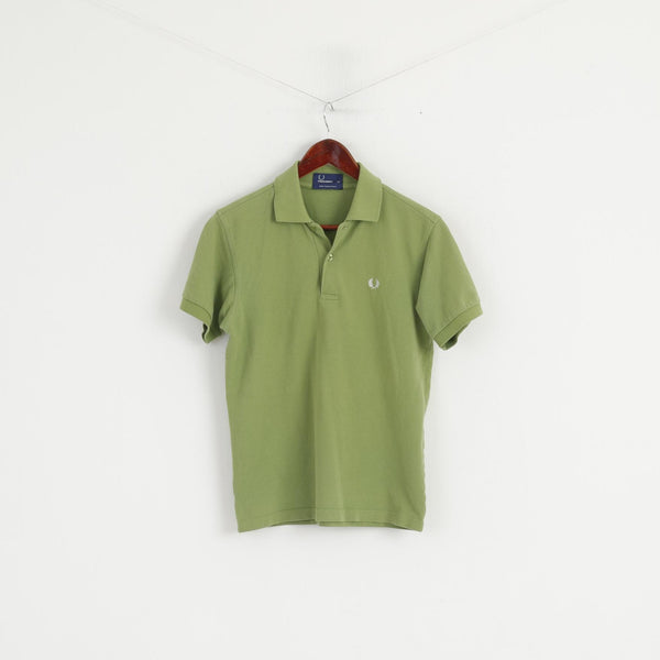 Fred Perry Men XS Polo Shirt Green Cotton Pique Short Sleeve Plain Top
