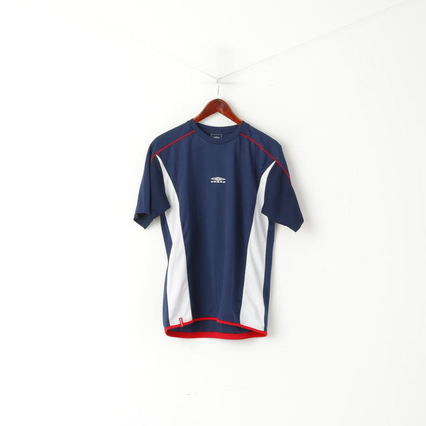 Umbro Men M Shirt Navy Activewear Logo Crew Neck Sport Training Jersey Top