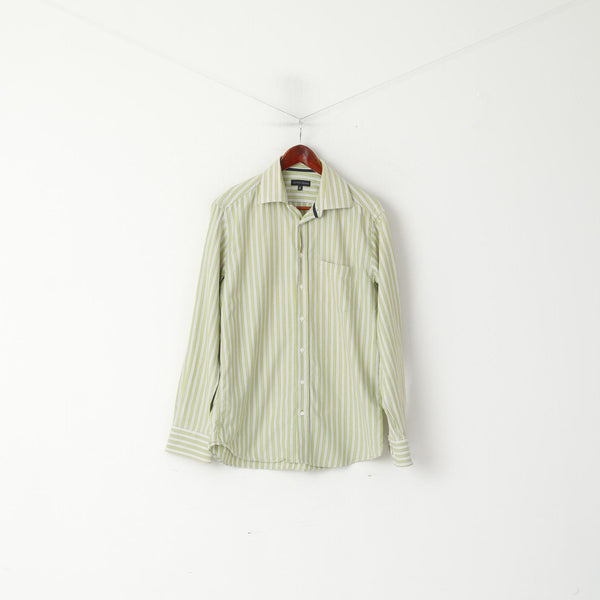 Tommy Hilfiger Men 39 15.5 M Casual Shirt Green Striped Cotton Long Sleeve Top