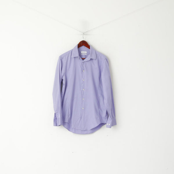 Calvin Klein Men 15.5 32/33 M Casual Shirt Purple Cotton Slim Fit Stretch Long Sleeve Top