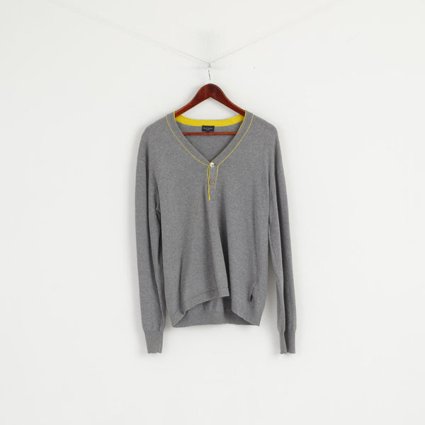 Paul Smith Jeans Men M Jumper Grey Cotton V Neck Classic Sweater