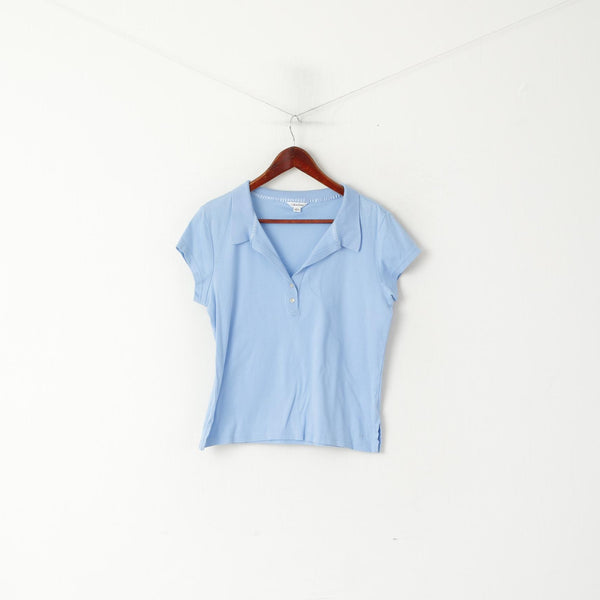 Calvin Klein Women L Polo Shirt Blue Cotton Cropped Short Sleeve Top