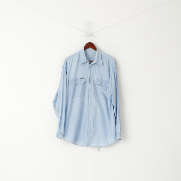 Calvin Klein Jeans Men L Casual Shirt Light Blue Cotton Soft Long Sleeve Top