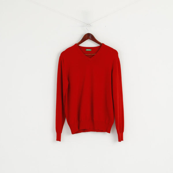 United Colors of Benetton Men M Jumper Red Cotton V Neck Classic Sweater