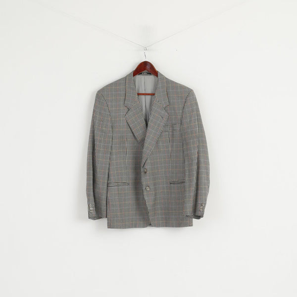 Falbe Dormeuil Men 38 Blazer Wool Houndstooth Single Breasted Vintage Multicoloured Jacket