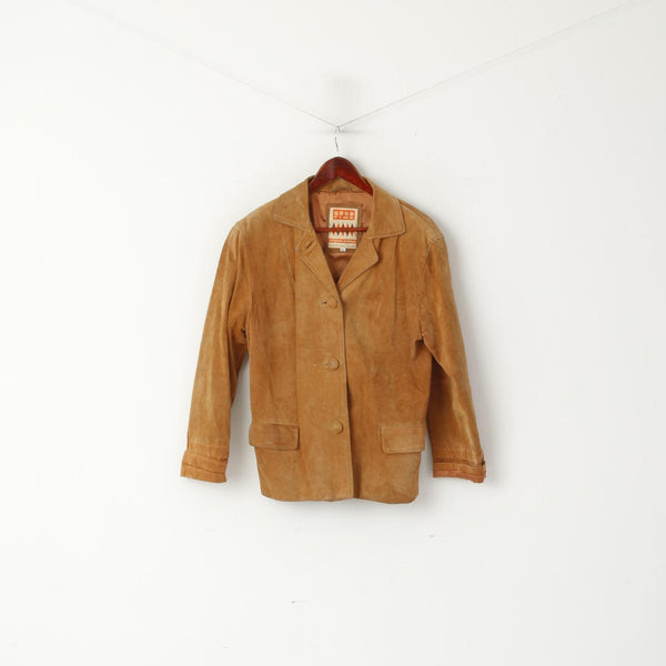 Good Time Women 38 M Leather Jacket Camel Vintage Suede Shoulder Pads Top