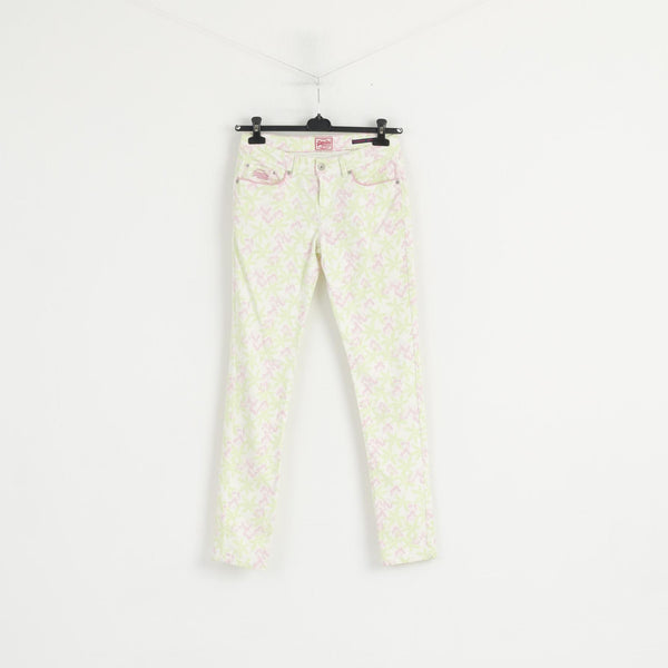 Superdry Women W 29 L 32 Trousers White Neon Floral Standard Skinny Cotton Pants