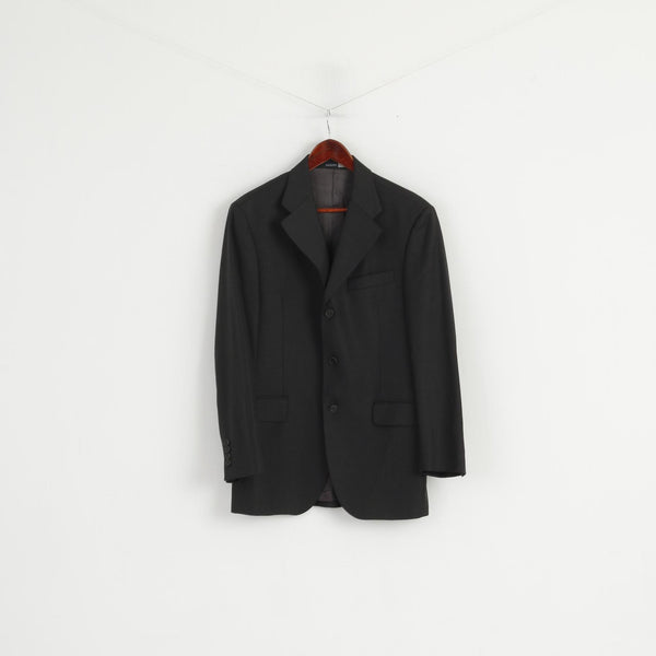 PAOLONI Men 48 38 Blazer Black Wool Cerruti 110's Single Breasted Made in Italy Jacket