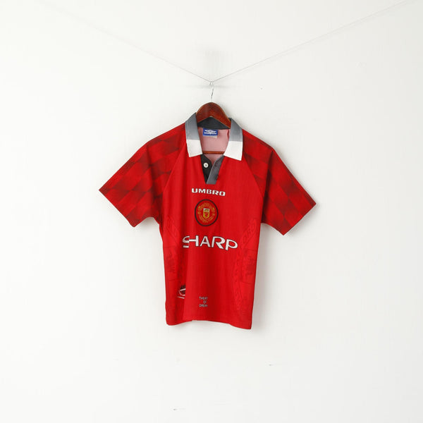 Umbro Manchester United Boys Y 10 Age Shirt Red Football Vintage Jersey Performance Top