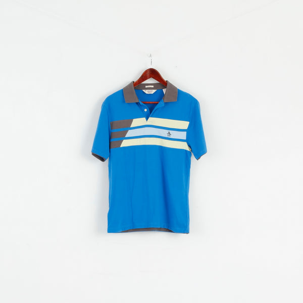 Original Penguin Mens M Polo Shirt Blue Cotton Classic Fit Logo Top