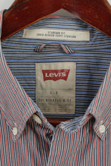 Levi's Mens L Casual Shirt Blue Red Striped Cotton Standard Fit Long Sleeve