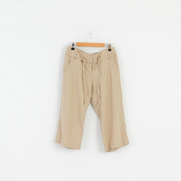 Next Petite Womens 36 8 S Capri Pants Beige Linen Blend Summer Trousers