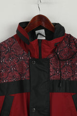 Shamp Men L Jacket Burgundy Nylon Waterproof Hooded Zip Up Rain Top