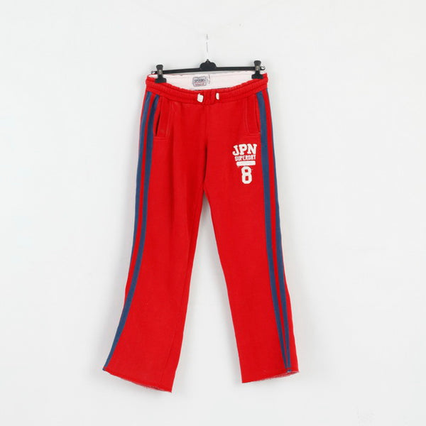Superdry Mens L Sweatpants Red Cotton Three Pockets Active Bottoms