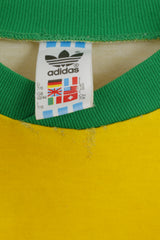 Adidas Mens L T-Shirt Yellow Vintage Cotton Blend Brasil Retro Top