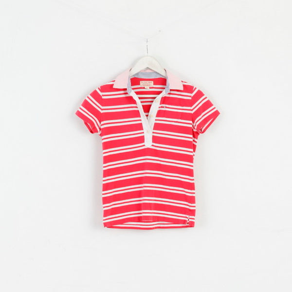 Polo Jeans Company Womens S Polo Shirt Red Striped Cotton Top
