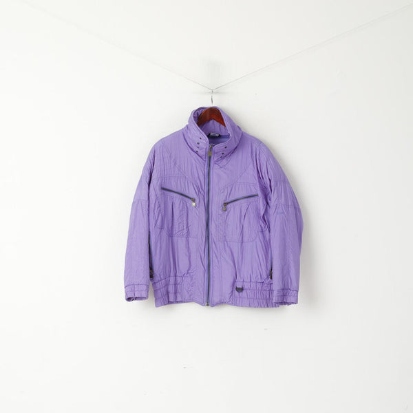 C&A Rodeo Women 12 M Jacket Purple Nylon Paded Bomber Vintage Shoulder Pads Top