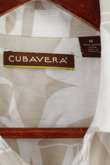 Cubavera Mens M Casual Shirt Beige Viscose Soft Short Sleeve Hawaiian