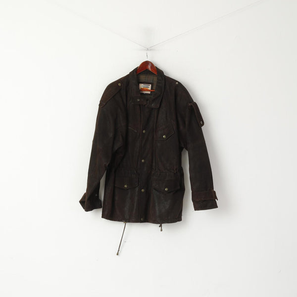 Rollo Club Men XS Jacket Brown Shiny Leather Vintage Biker Full Zipper Pilot Oklahoma Top