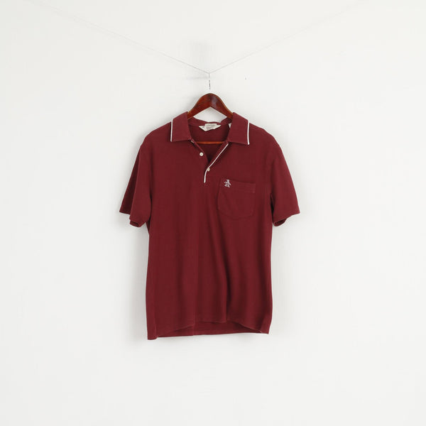 Original Penguin Men S Polo Shirt Maroon Cotton Classic Fit Short Sleeve Top