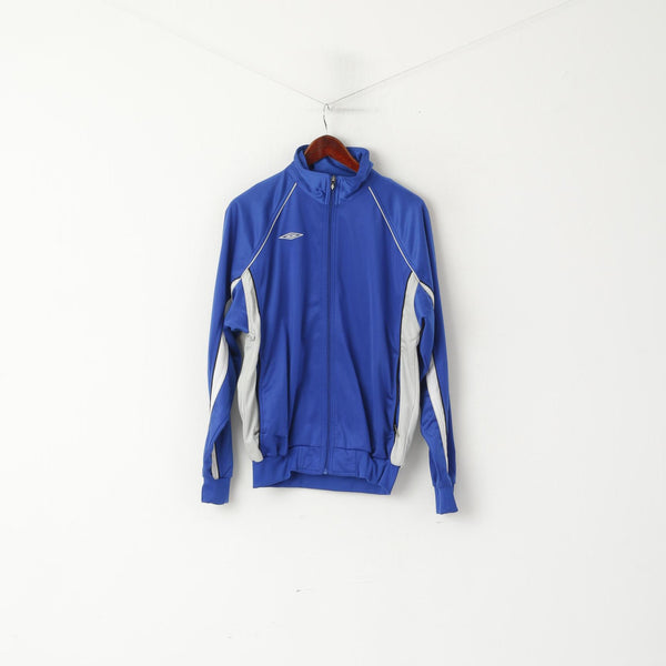 Umbro Men M Sweatshirt Blue Shiny Full Zipper Sportswear Football Retro Track Top