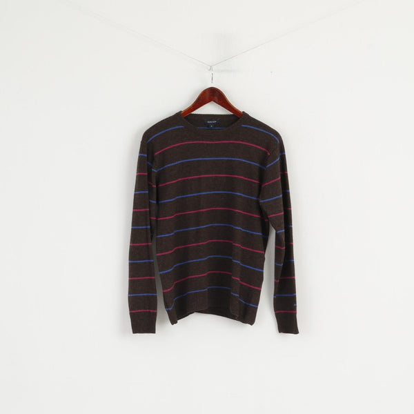 GANT Women M Jumper Brown Striped Wool Crew Neck Soft Sweater