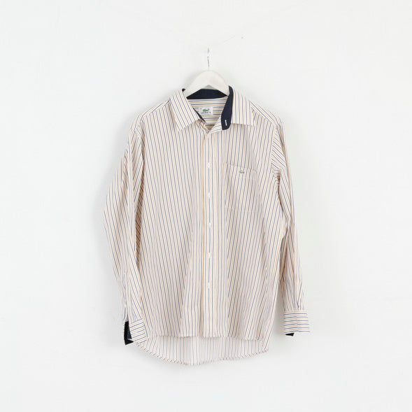 Lacoste Mens 44 L Casual Shirt White Yellow Striped Cotton Long Sleeve Top