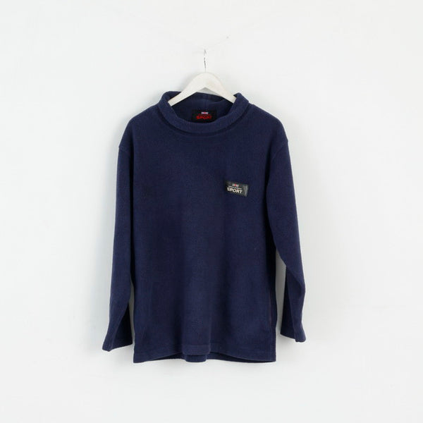 Thomas Burberry SPORT Mens L Fleece Top Navy Blue Vintage Sweatshirt Top