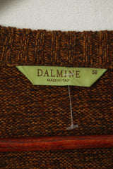 Dalmine Mens 56 XL Jumper Brown 100% New Wool Stretch Made in Italy Sweater