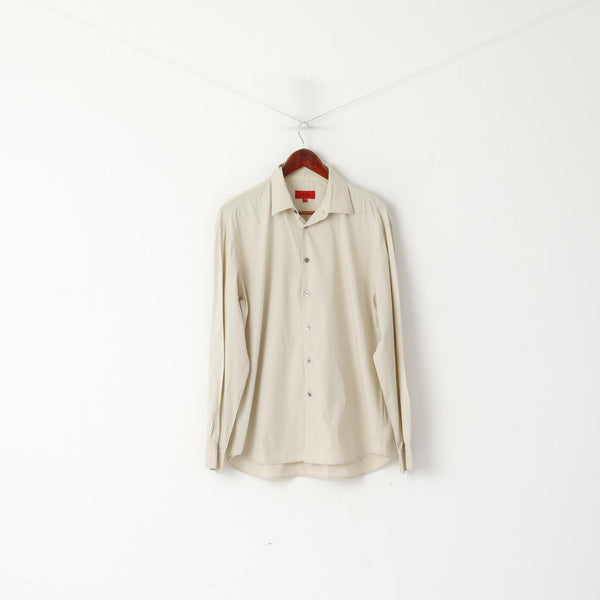 Hugo Boss Men L Casual Shirt Cotton Beige Elastane Blend Long Sleeve Top