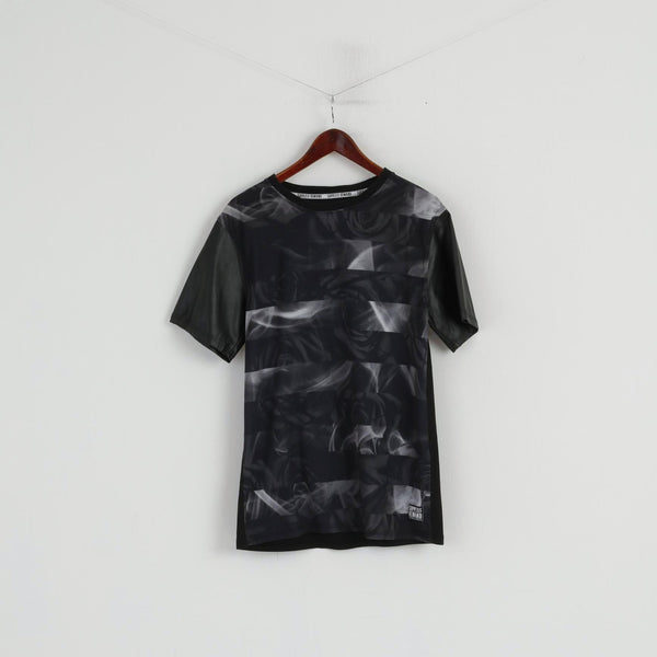 Supply & Demand Men L (M) Shirt Black Roses New York PVC Short Sleeve Top