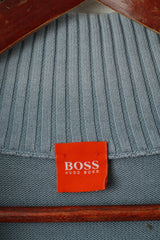 Hugo Boss Men L (S) Jumper Blue Cotton Faded Zip Neck Classic Plain Sweater