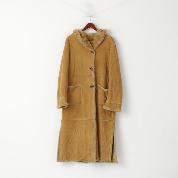 Elena Monti Women 42 XL Duffle Coat Brown Boho Hooded Vintage Valentina Made in Italy