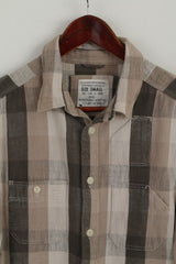 Allsaints Men S (XS) Casual Shirt Beige Checkered Hanway Cotton Patches Long Sleeve Top