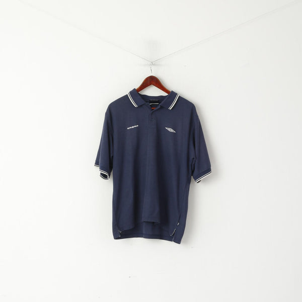 Umbro Men XL Polo Shirt Navy Cotton Blend SHort Sleeve Vintage 90s Top