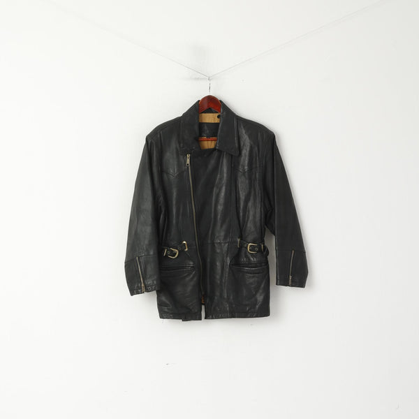 Rossetti Women 38 M Jacket Black Pig Leather Ramones Vintage Heavy Full Zipper Top