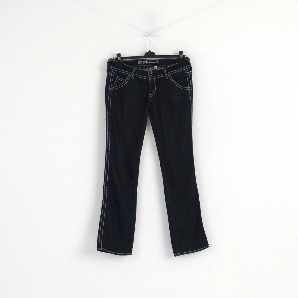 Guess Jeans Women W 34 Jeans Trousers Navy Denim Cotton Regular Straight Pants