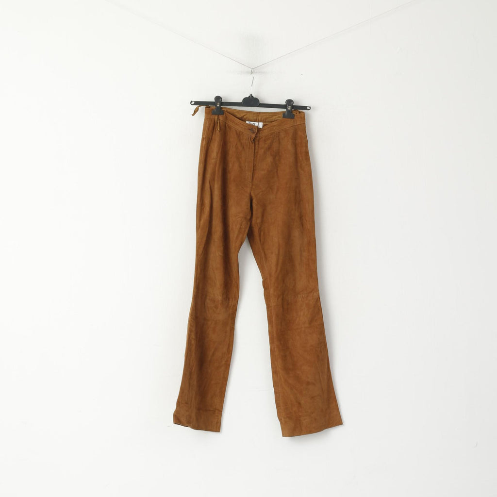 MILANO Di Alba Moda Women 10 36 S Trousers Camel Leather Suede Vintage Pants