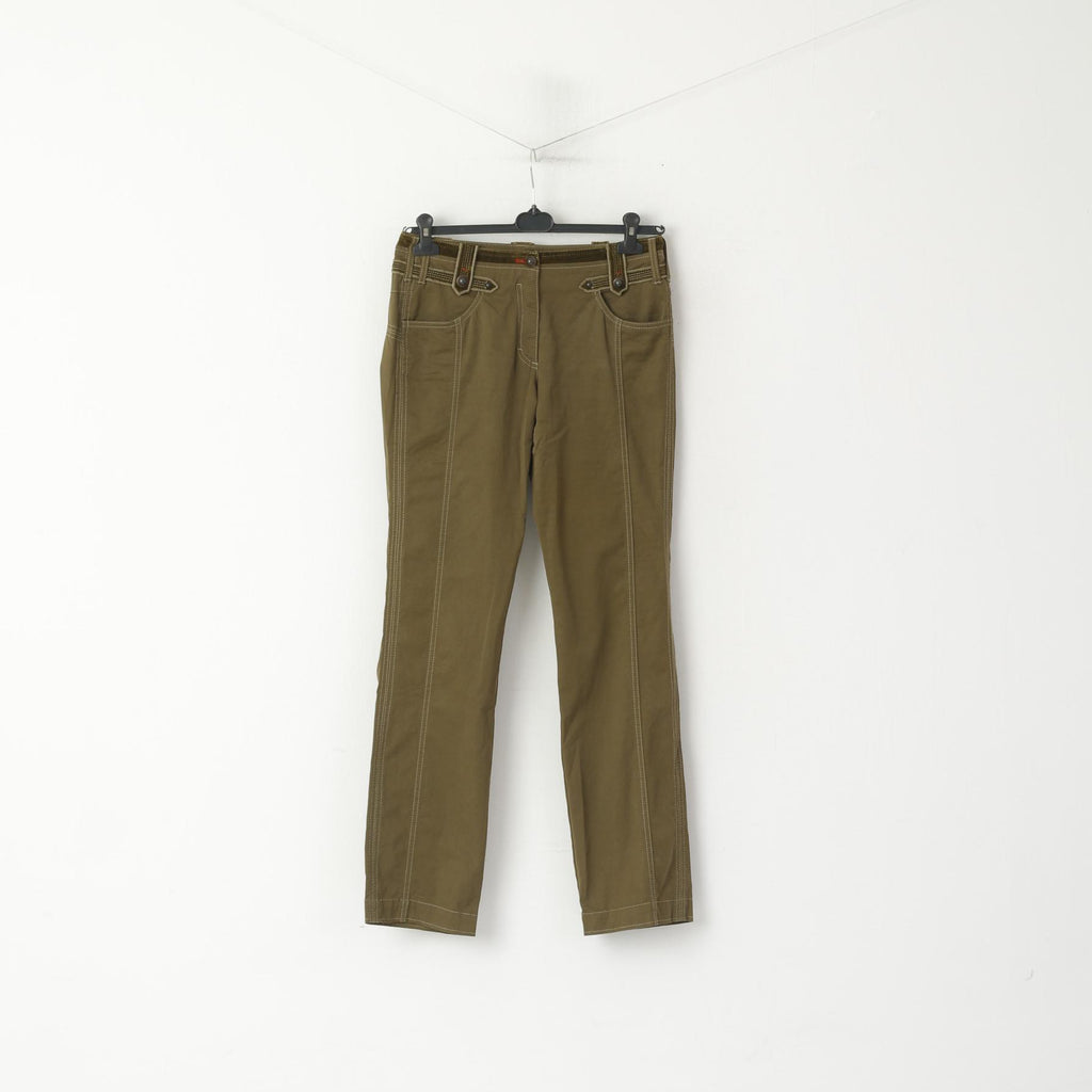 Marc Cain Women 3 M Trousers Green Cotton Vintage Suede Inserts Straight Pants