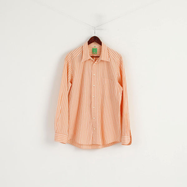 Olymp Novum Men XL Casual Shirt Orange Cotton Striped Slim Line Long Sleeve Top