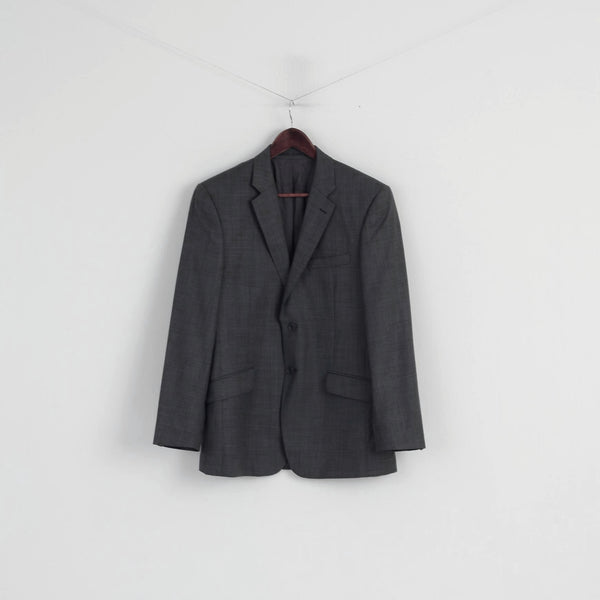 Fellini Men 40 Blazer Grey Wool Exclusively at Slaters Single Breasted Jacket