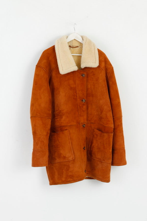 Vintage Womens 42 XXL Jacket Brown Leather Sheep Fur Heavy Warm Top