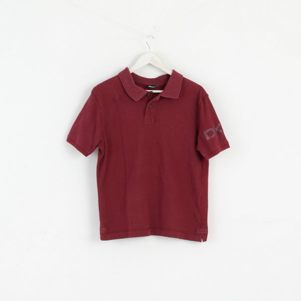 DKNY Mens M Polo Shirt Maroon Cotton Detailed Buttons Classic Top