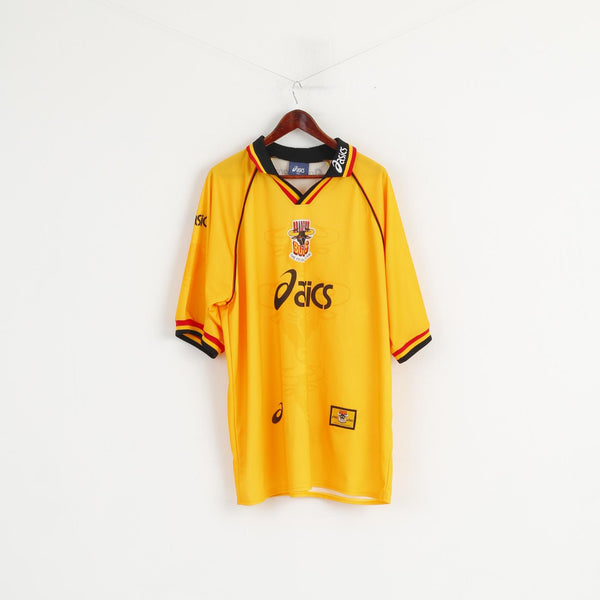 Asics Bradford Bulls Men XXL Polo Shirt Yellow Shiny Rugby Official Jersey Top